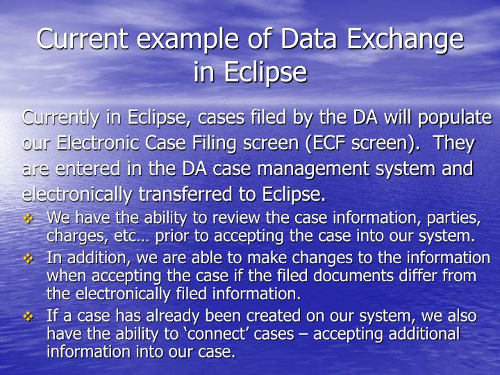 Current example of Data Exchange in Eclipse