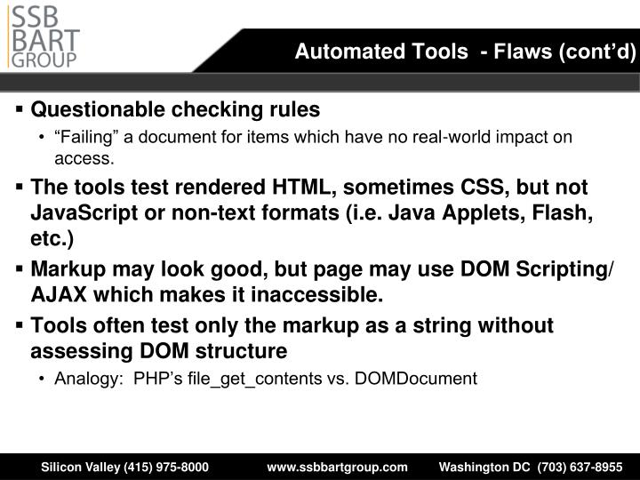 Automated Tools  - Flaws (cont'd)