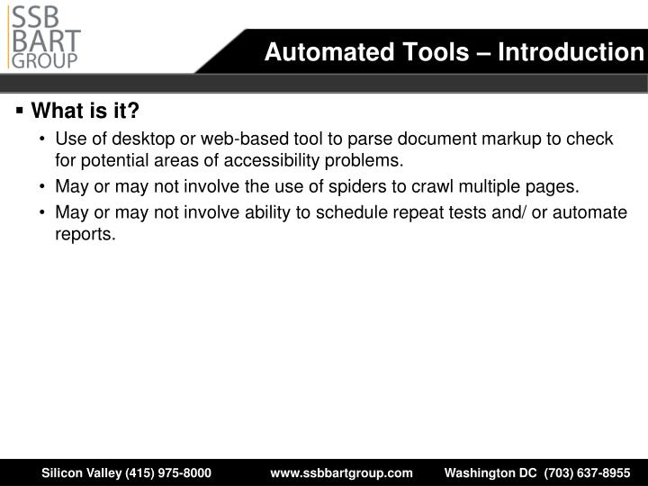 Automated Tools – Introduction