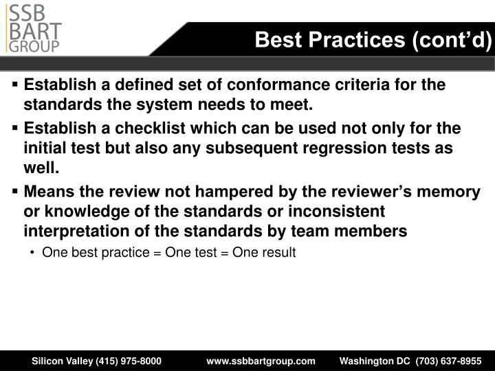 Best Practices (cont'd)