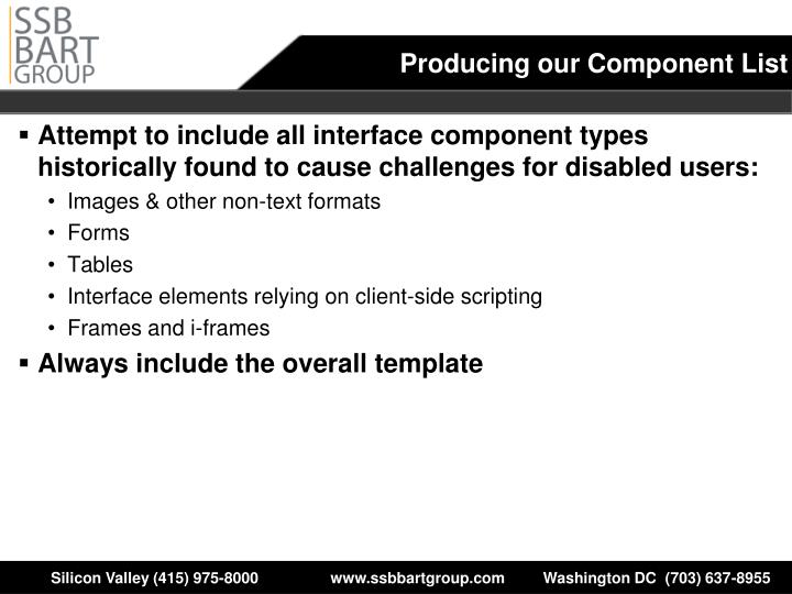 Producing our Component List