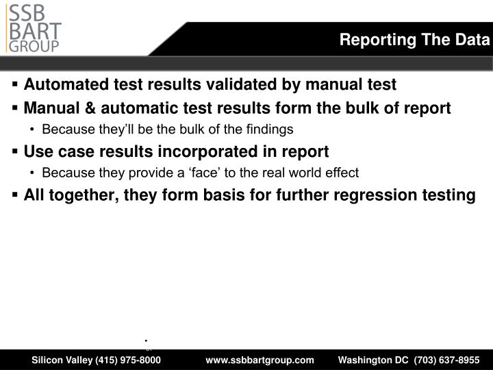 Automated test results validated by manual test