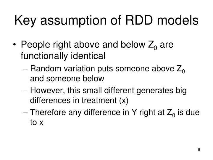 Key assumption of RDD models