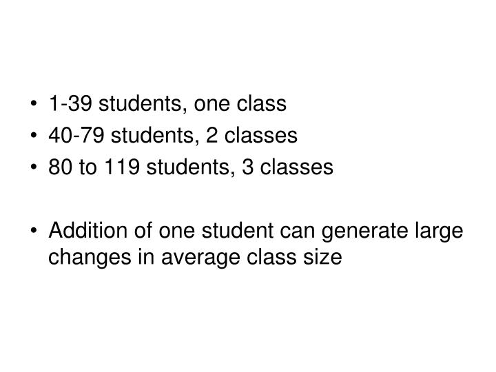1-39 students, one class