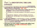 part 1 a identifying the life context