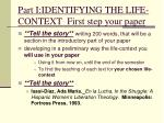 part i identifying the life context first step your paper