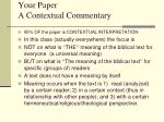 your paper a contextual commentary