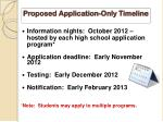 proposed application only timeline