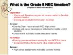 what is the grade 8 nec timeline proposed for school year 2012 2013