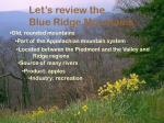 let s review the blue ridge mountains