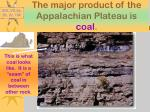the major product of the appalachian plateau is coal