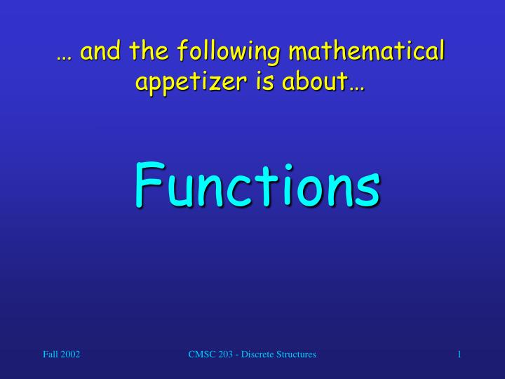 and the following mathematical appetizer is about n.