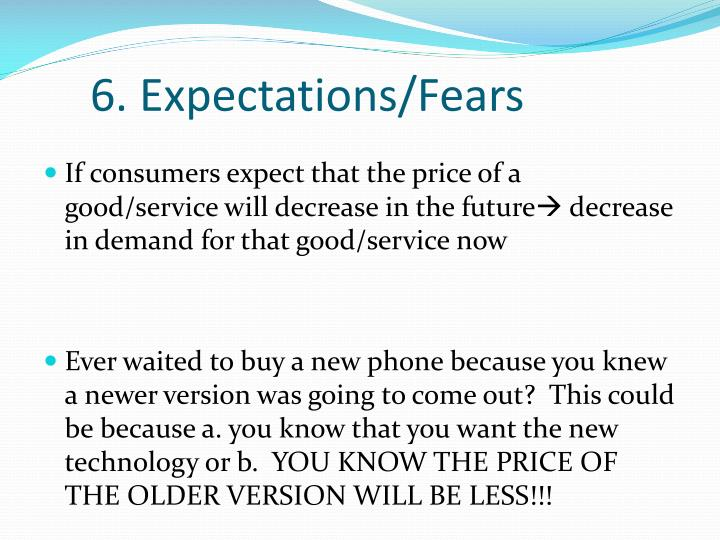 6. Expectations/Fears