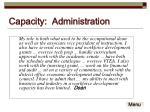 capacity administration