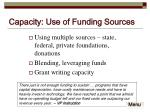 capacity use of funding sources