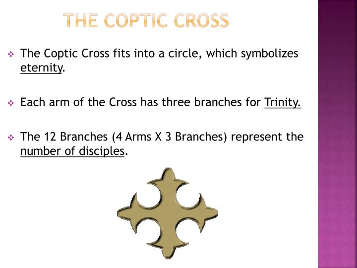 The Coptic Cross fits into a circle, which symbolizes