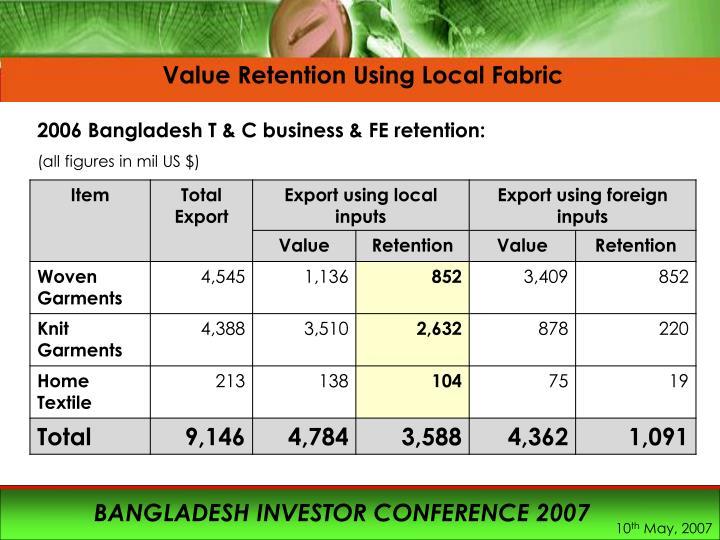 Value Retention Using Local Fabric