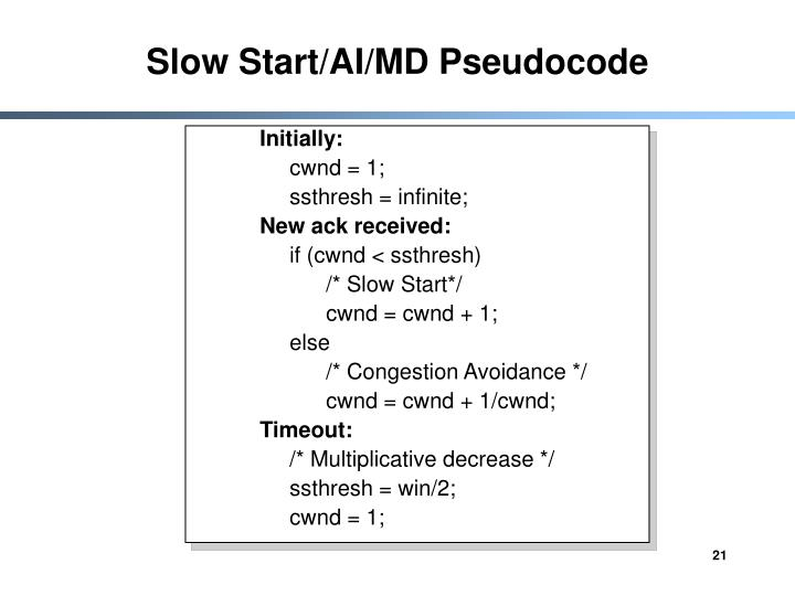 Slow Start/AI/MD Pseudocode