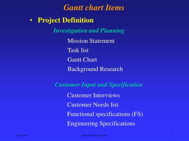 Customer Input and Specification