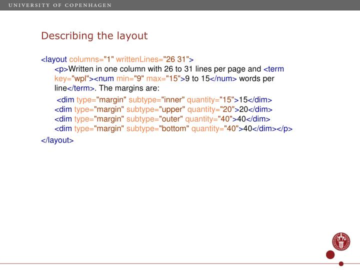 Describing the layout
