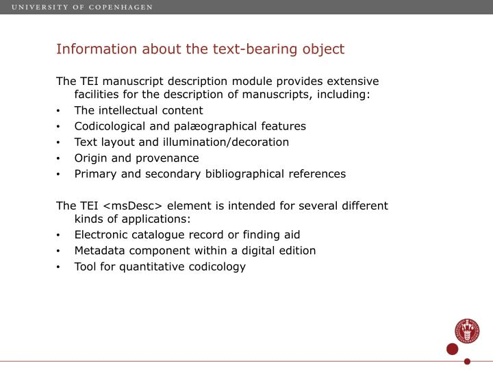 Information about the text-bearing object