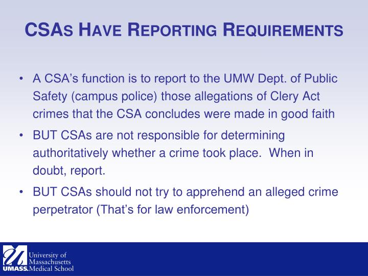 CSAs Have Reporting Requirements
