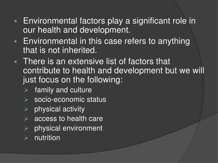 environmental factors and health promotion pamphlet and assignment. Environmental factors and health promotion pamphlet order description part i: indirect care experience 1develop a pamphlet to inform parents and caregivers about environmental factors that can affect the health of infants.