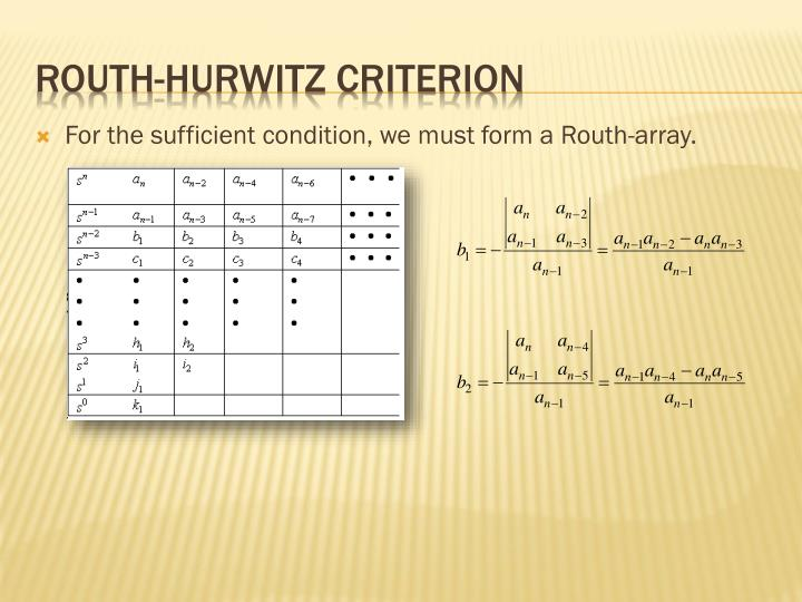 For the sufficient condition, we must form a Routh-array.