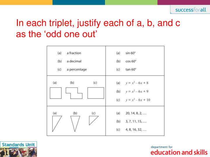 In each triplet, justify each of a, b, and c as the 'odd one out'