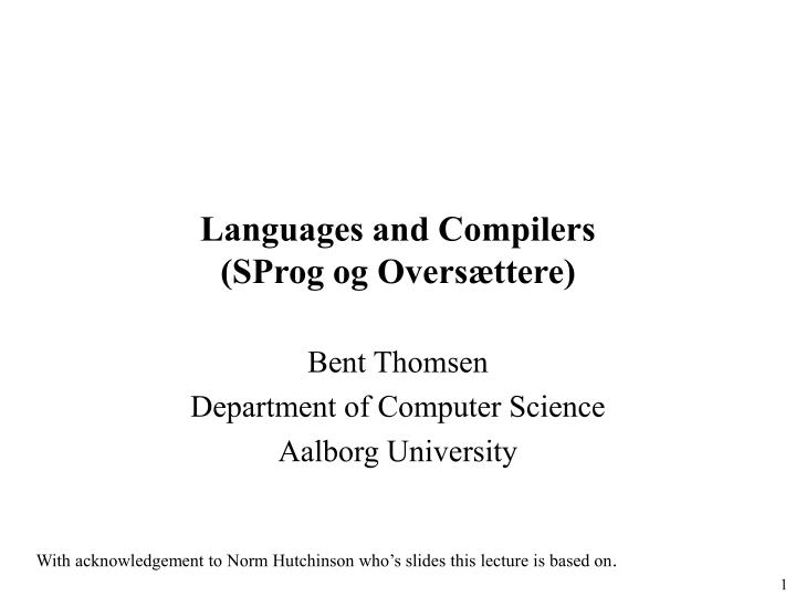 languages and compilers sprog og overs ttere n.