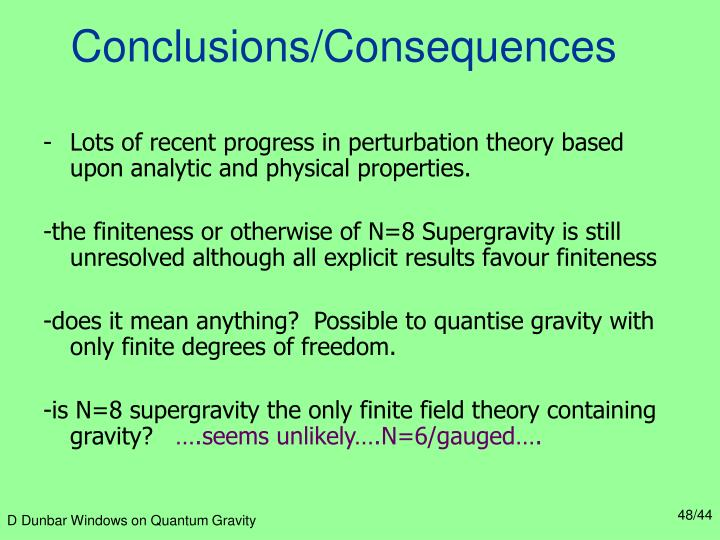 Conclusions/Consequences