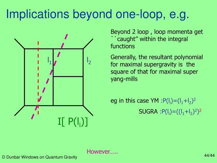 Implications beyond one-loop, e.g.