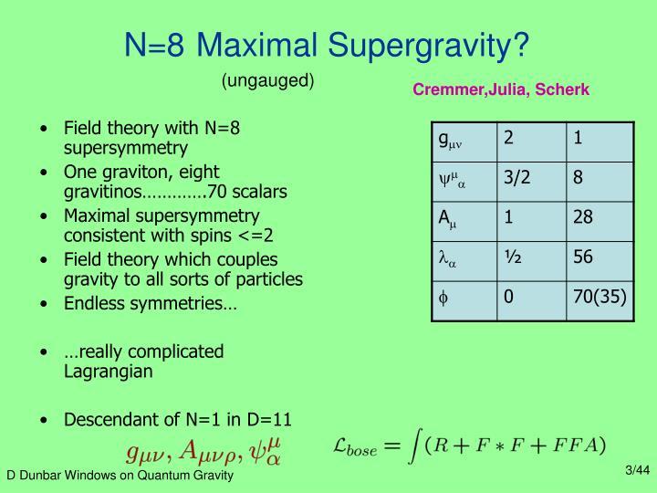 N 8 maximal supergravity