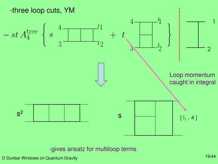 -three loop cuts, YM