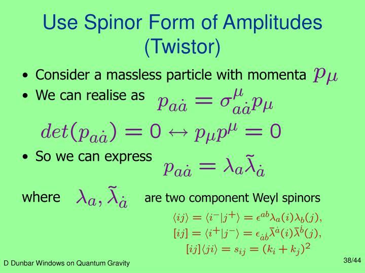 Use Spinor Form of Amplitudes (Twistor)