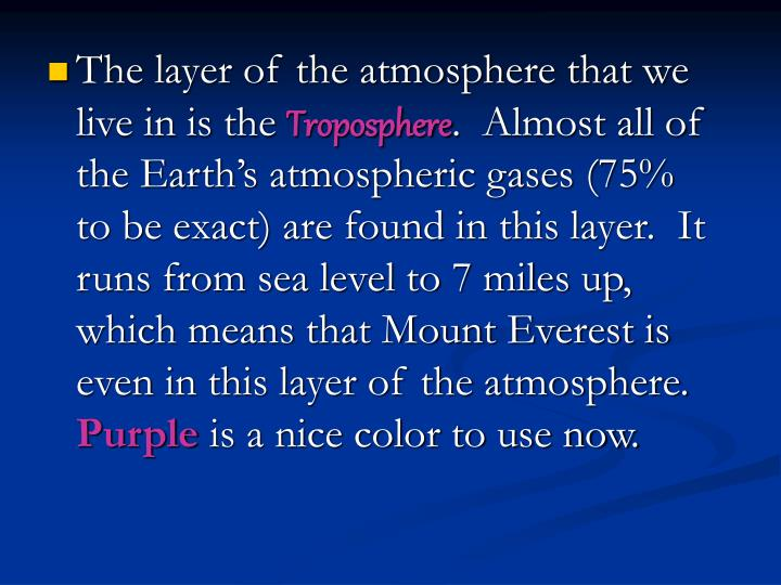 The layer of the atmosphere that we live in is the