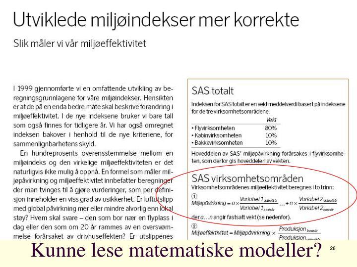 Kunne lese matematiske modeller?