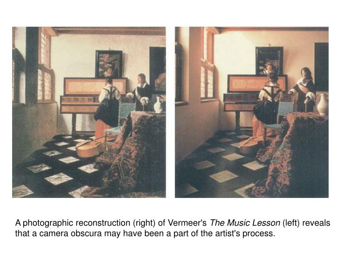 A photographic reconstruction (right) of Vermeer's