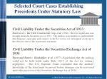 selected court cases establishing precedents under statutory law