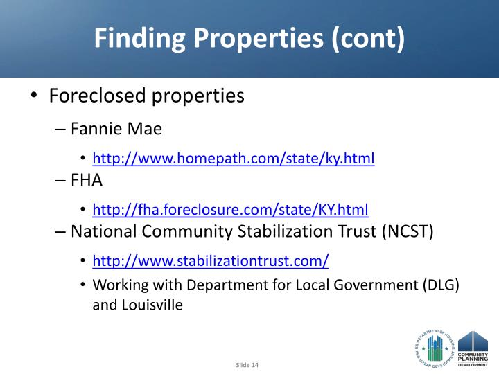 Finding Properties (cont)