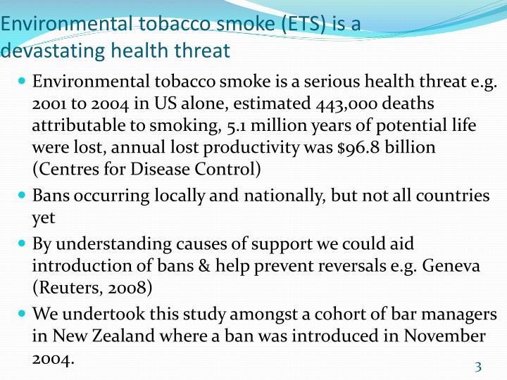 Environmental tobacco smoke ets is a devastating health threat