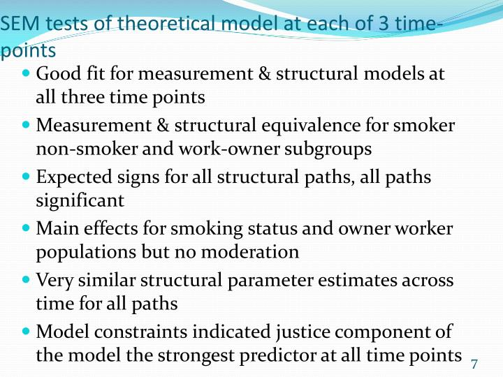 SEM tests of theoretical model at each of 3 time-points