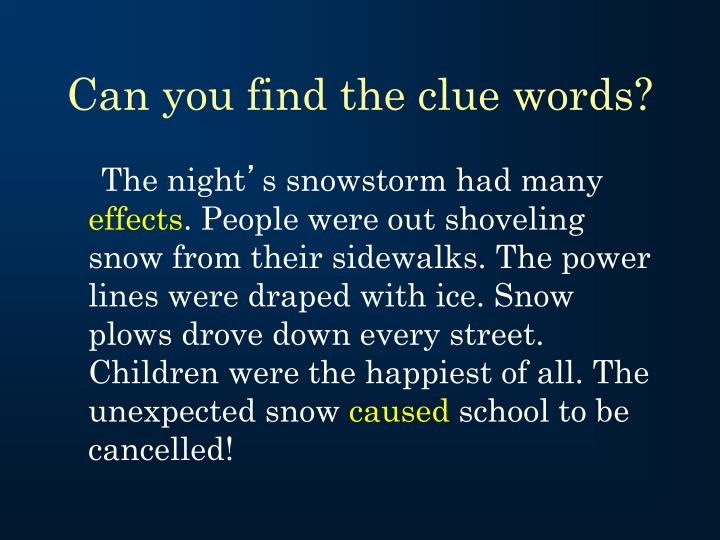 Can you find the clue words?