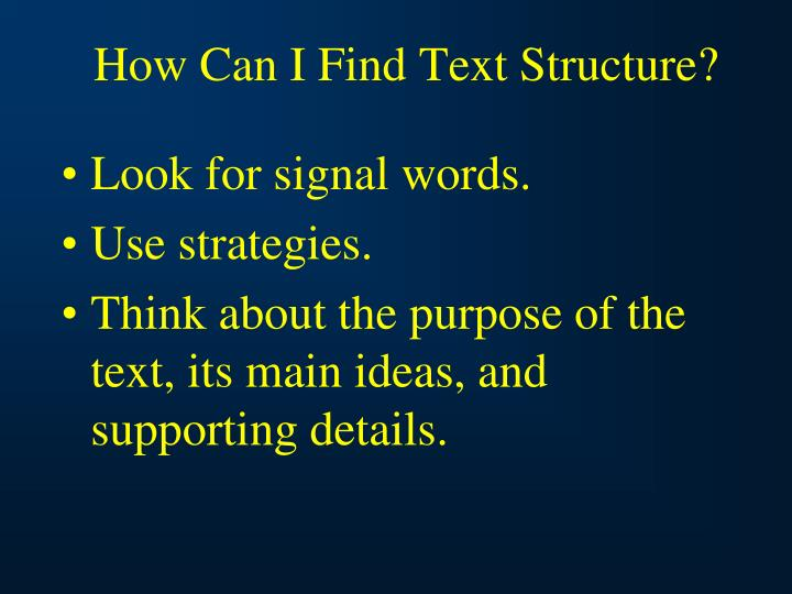 How Can I Find Text Structure?