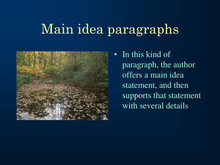 Main idea paragraphs