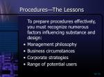 procedures the lessons