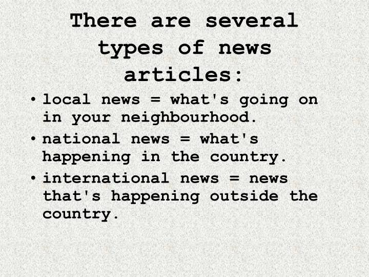 different types of newspaper articles