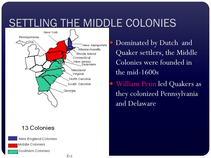SETTLING THE MIDDLE COLONIES