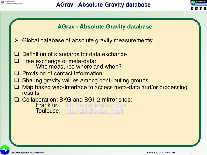 AGrav - Absolute Gravity database