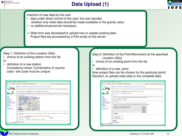 Insertion of new data by the user
